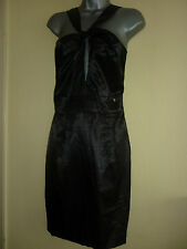 Satin noir robe par Miss Sixty taille l UK12/14 bnwt