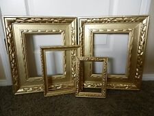 LOT OF FOUR WOOD GOLD TONE EMPTY / OPEN PICTURE FRAMES ( #20)
