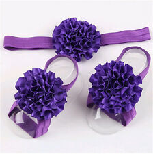 1set/3Pcs Baby Infant Headband Foot Flower Elastic Hair Band Accessories s09