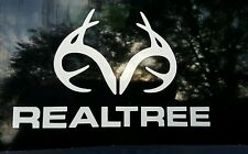 Realtree Decal Antler Logo Contour Cut Real Tree White Die-Cut Sticker
