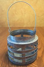 Rustic Metal Candle Holder Glass Lantern Light Lamp Farmhouse Distressed 11""