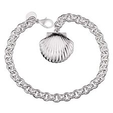 "Unique & Elegant Pure 925 Sterling Silver Shell Shape Locket 8"" Bracelet #007"