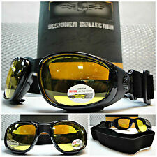 MOTORCYCLE ATV SPORT Day Night DRIVING RIDING Yellow Lens PADDED GLASSES GOGGLES