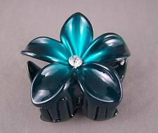 "Teal ombre plumeria hawaiian flower barrette hair clip claw clamp 2.75"" wide"