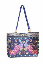 HANDMADE HANDBAG Blue PEACOCK EMBROIDERED RAJASTHANI DESIGN INDIAN CRAFTS BAG