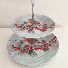 MACNEIL ROBIN WINTER CHRISTMAS SCENE FINE CHINA 2 TIER PLATE CAKE STAND VINTAGE