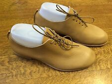 WOMEN'S TAN LACE UP LEATHER UPPER RUBBER SOLES by U. MADE IN JAPAN SHOES SZ 5