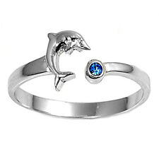 USA Seller Blue Dolphin Toe Ring Sterling Silver 925 Best  Adjustable Jewelry