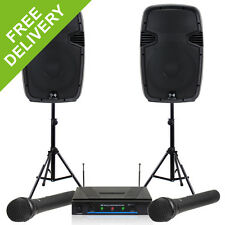 2x Ekho RS12A Active Speakers + QTX Wireless Mic System + 2x Stands 1200W