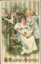 Valentine - Little Girls Gold Hearts & Birds on Bench JOHN WINSCH Postcard