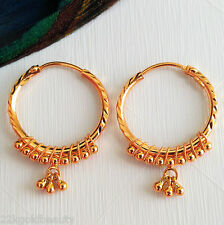 GOLDSHINE Earrings 22K Solid Yellow Gold Hoop 'BALI' Handmade Diamond Cut BEAUTY