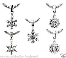 "5 Pc. ""Christmas Snowflake"" European Charms for snake chain charm bracelets"