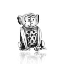 Authentic Sterling silver 3D Monkey charm bead, new design GIFT PACKING INCLUDED