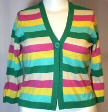 BCBG Maxazria Striped Multi-Color Cashmere Cardigan Sweater Large