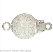 8mm Argent Sterling Perle stardust / perles collier fermoir bijoux en push catch