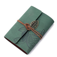 Vintage Leaf Leather Cover Loose Leaf Blank Notebook Journal Diary Green Elegant