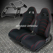 PAIR TYPE-1 RECLINING BLACK CLOTH RACING SEAT+BRACKET FOR 93-02 CAMARO/TRANS AM