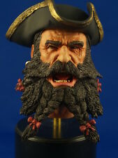 "1:6  PAINTED RESIN HEAD SCULPT  ""BLACKBEARD"" PIRATE HEAD WITH REMOVABLE TRICORN"