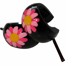 Pink Flower Black Wooden Hoop Stick Huggie Stud Earrings Womens Ladies Jewellery