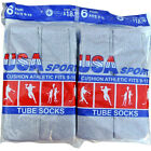 12 Pairs New GRAY Men's Cotton Athletic Sports TUBE Socks 9-15 Made In USA