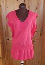 NEXT hot pink shortsleeve vneck long crinkle tunic top summer holiday beach 8 36