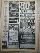 "CULT,PEARL JAM,P J HARVEY AT FINSBURY PARK 92, N.M.E. ADVERT PICTURE,15"" X 5.5"""