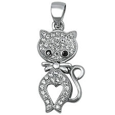 Micro Pave Cz Cat .925 Sterling Silver Pendant
