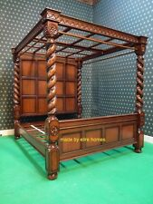 UK STOCK  Super King Size 6' carved Mahogany Four 4 Poster TUDOR canopy bed