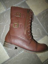 NEW STEVE MADDEN MADDEN GIRL RUSTIEE COGNAC BOOTS WOMENS 9 LACE UP BOOTS MID