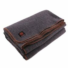 """Heavy Military 80% Wool Blanket Army Camping - 4 lbs, Warm, 64"""" x 88"""" Gray NEW"""