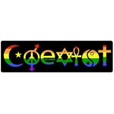 COEXIST Equality Gay Pride Rainbow Bumper Sticker 3 x 10 inch