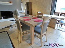 Dining set! Extending table and 4 solid wood chairs in oak sonoma, small size