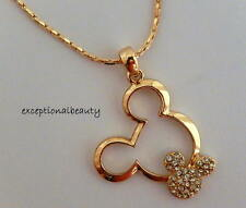 Gold Rhinestone Mickey Mouse Head Ears Disney Pendant Chain Necklace