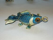Vintage Chinese Silver Enamel Light Blue Fish Pendant With Round Loop Bail