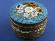 LOVELY VINTAGE MICRO MOSAIC ORNATE PATERNED ITALIAN PILL / TRINKET BOX