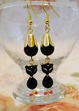 EARRINGS, BLACK ENAMEL CAT, BLACK AGATE BEAD, GOLD PLATED EARWIRES - 0031