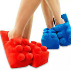 Funny Building Brick Block Blue Red Soft Warm Home Toys Unisex Slippers Gifts