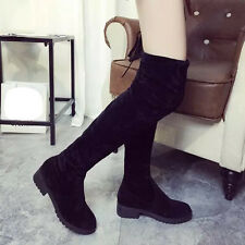 Womens Ladies Suede Over The Knee Boots Shoes Block Lace uo Thigh Long Boots