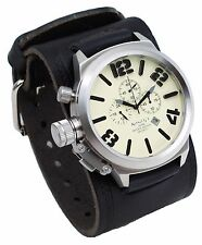 Nemesis KIN088T Men's Russian Lefty Chronograph Wide Leather Cuff Band Watch