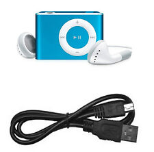 MINI CLIP REPRODUCTOR MP3 AZUL PARA MICRO SD HASTA 8GB CON AURICULARES Y CABLE