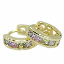 14k Gold GF huggie hoop earrings with lightly colored Swarovski crystal zircons