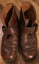 Vintage 1960's LL Bean Brown Leather Monk Strap boots shoes 9.5 D MOD Flat toe