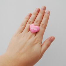 Cute pink heart shaped barbie doll ring kawaii cute japan lolita pin up emo