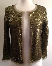 NWT$128 J. Crew Sz S Olive Green Starry Night Sparkle Sequin Open Cardigan 32935