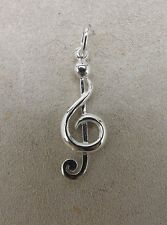 New Sterling Silver 925 Treble Clef Musical Note Charm Pendant .9Grams