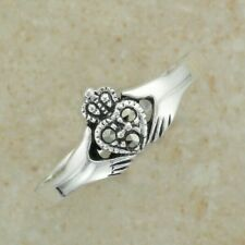 Irish Celtic Sterling Silver claddagh ring with marcasite stones SIZE 6.25