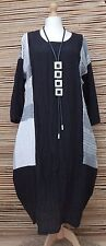 LAGENLOOK* LINEN BEAUTIFUL FANTASTIC BALLOON CRINKLE LONG DRESS*BLACK*Size 48-50