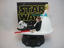 STAR WARS Stormtrooper Bride & Groom Funny Wedding Cake Topper Jedi Lightsaber