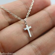 TINY CROSS NECKLACE - 925 Sterling Silver - Cross Charm Necklace Faith Religion