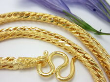 "Braided Rope 26"" nice chain 22K 24K yellow Gold GP Baht Thai Necklace jewelry"